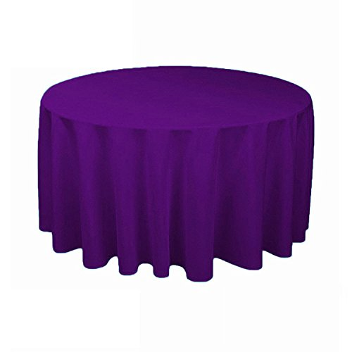 gfcc 100% poliéster redondo poliéster mantel para boda, Halloween, Navidad, fiestas y banquetes (121,9cm, color morado)