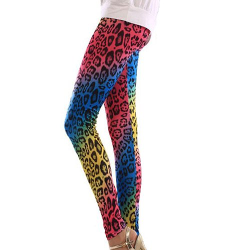 Multi-Coloured Animal Leopard Print Leggings. Very stylish and very 80s!