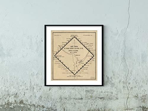 New York Map Company () (TM 1906 Chart zeigt die originalen Grenzmeilensteine des Bezirks von Columbia, Historisches Poster, Reiseposter 1950 Evening Star