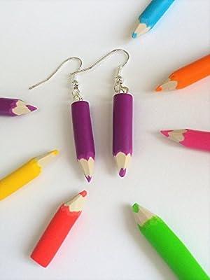boucles d'oreilles crayon de couleur violet cadeau maitresse