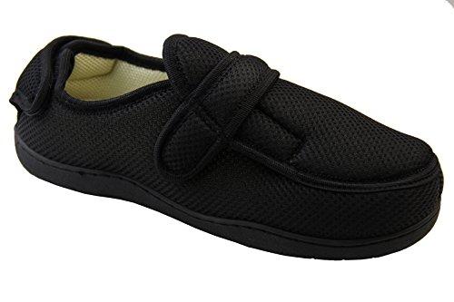 Footwear Studio Réglable Velcro Orthopédique Pantoufles Hommes Noir Maille
