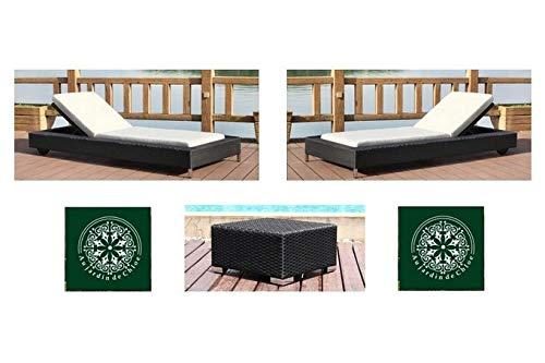 Au jardin de Chloé   Duo de Bains de Soleil roulettes résine tressée Zoe Noir • 2 chaises Longues + Une Table •