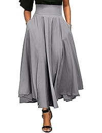 Reaso Femmes Jupe Plissé Rétro Jupe Longue Elegant Robe Taille Haute  Vintage Fille Elastique A- 59a2cbe9083a