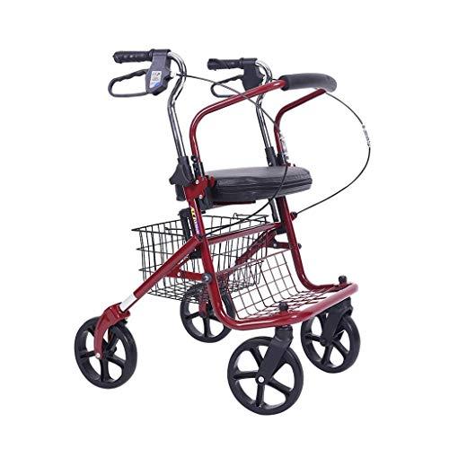 Klappstuhl Warenkorb (BAIF Einkaufswagen klappstiefel warenkorb einkaufswagen Old Man Trolley Scooter einkaufswagen Walking klappstuhl (Farbe: rot, größe: 41 * 72 * 95cm))