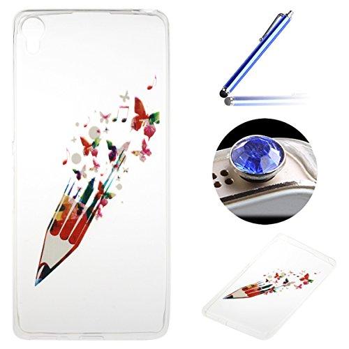Sony Xperia XA Coque, Etsue pour Sony Xperia XA Vogue Gel Housse étui de téléphone mobile ,TPU Silicone Matériau Transparente Ultra Mince Supérieur Semi Transparent Doux Coque [Crayon de Couleurs] Motif pour Sony Xperia XA + Gratuit 1 x Bleu stylet + 1 x Bling poussière plug (couleurs aléatoires)
