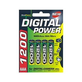 AccuPower AP1200-4 Ni-MH AAA Rechargeable Battery 1200 mAh Pack of 4