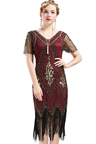 Damen Flapper Kleid mit Kurzem Ärmel Gatsby Motto Party Damen Kostüm Kleid (Rot Gold, XL) ()