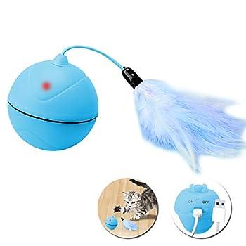 Wanfei Interactif Jouets pour Chat, 360 Degrés Auto-Rotative Balle Electronique Jouet pour Animaux de Compagnie Chats Chiens Chaser Ball Intégré Batterie Rechargeable avec Plume Détachable (Bleu)