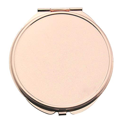 KBDSM Tragbare Handtasche Spiegel Rose Goldene Make-up Kompakt-Spiegel Folding Taschenspiegel Roségold Metall Schminkspiegel für Reisen, Camping-Large Kreis-Form - Metall-kompakt-spiegel