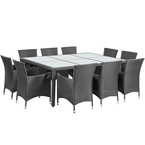 Anself Salon de Jardin Ensemble de table à manger en rotin à l'extérieur en rotin noir