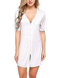 ADOME Mujer Camisón Pijama Una Pieza Algodón Salto de Cama Botones Cuello V Ropa Dormir Interior