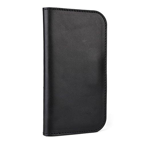 Housse étui portefeuille en cuir véritable pour Motorola Moto G/E noir - noir noir - noir