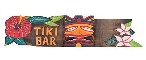 Interlifestyle Tiki Bar Holzschild 100cm aus Holz zum Aufhängen Tiki Hawaii (Hawaii Bar Tiki)