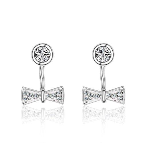 Erica Mode Sterling Silver Boucles d'oreilles / boucles Bow Boucles d'oreilles diamant / Stud mignon pour les filles white