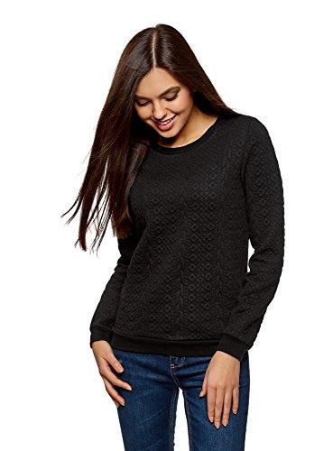 oodji Collection Damen Sweatshirt aus Strukturiertem Stoff, Schwarz, DE 36 / EU 38 / S (Strukturiertem Leder Fein)