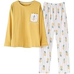 Pijamas de primavera y otoño de algodón de manga larga pijamas grandes damas pueden usar camisa de dormir amarillo piña pantalones blancos cómodos servicio a domicilio ( Color : Yellow , Size : SG )