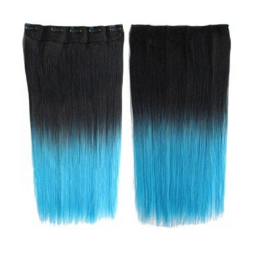 Longue perruque - TOOGOO(R) Extensions de cheveux colores 130g 60cm resistant a la chaleur fantastique synthetique longs clip dans avec 5 clips piece de cheveux (droit, Noir + Bleu clair)