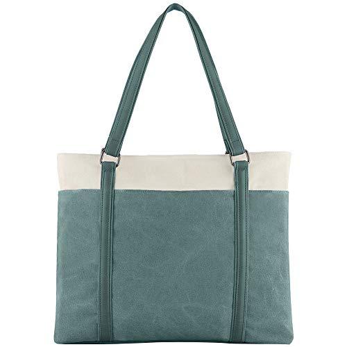 Grün Large Tote (Damen Laptop-Tasche für Arbeit, leicht, Splice Canvas, 39,6 cm (15,6 Zoll) Handtasche Grün grün Large)