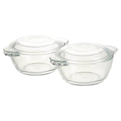 URBNLIVING Set Of 2 Glass Mini Casserole Dish With Lid
