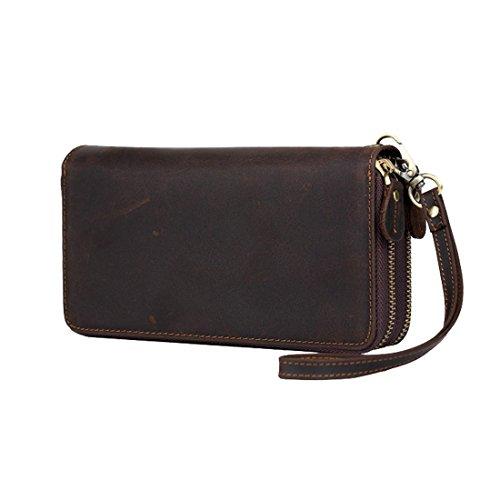H&W Clutch Leder Unterarmtasche Handgelenktasche Geldbörse Portemonnaie für Herren Braun #22