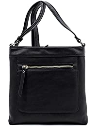 Crossbody Bag With Metal Zipper By Fashion Glad (Black)