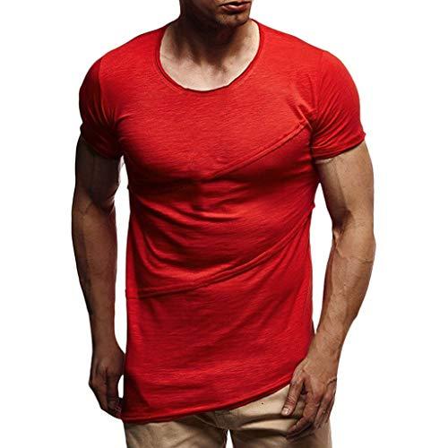 Diagonale Saum Top (QHJ T Shirt Herren,Herren Kurzarm Männer Muskelsommer Patchwork Solide Kurzarm O Neck T Shirt Top Bluse Rundhals Spleißstreifen Diagonalem Saum Einfarbiges Kurzarm T Shirt (Rot,XXXL)