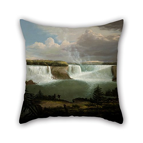 beautifulseason The Oil Painting Alvan Fisher - A General View of The Falls of Niagara Throw Pillow Case of,16 X 16 Inches/40 by 40 cm Decoration,Gift for Teens Boys,Kids Girls,Christmas,Pub,benc - Boden Cord Cover