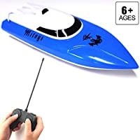 Price comparsion for FSTgo RC Boat for Girls and Boys Electric Birthday Gift for Kids 4CH Radio Controlled Boats/Ships Pool & Outdoor Use Blue