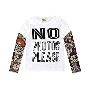 Yying Boy Tattoo Tshirt Camiseta Niños Dibujos Animados Niños Niños Camiseta Ropa para Niños Ropa para Bebés Camisetas… 4