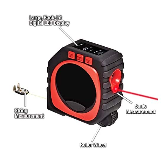 Abhsant Universal Digital Tape Measure; 3 in 1 LED Digital Display Laser Measure King All and Any Surfaces