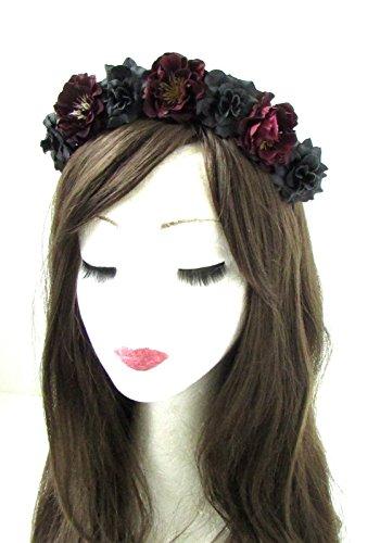 Haarkranz mit schwarzen und dunkelroten Rosen, Sugar Skull, Halloween, Goth, 469 von Starcrossed - Skull Halloween-look Sugar