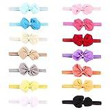 #8: Rrimin 14pcs Chiffon Bowknot Baby Headbands Solid Color Baby Girl Hair Bands (Color Random 112361)
