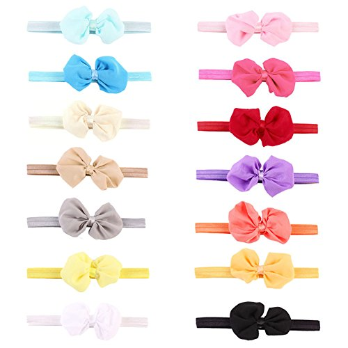 Rrimin 14pcs Chiffon Bowknot Baby Headbands Solid Color Baby Girl Hair Bands (Color Random 112361)
