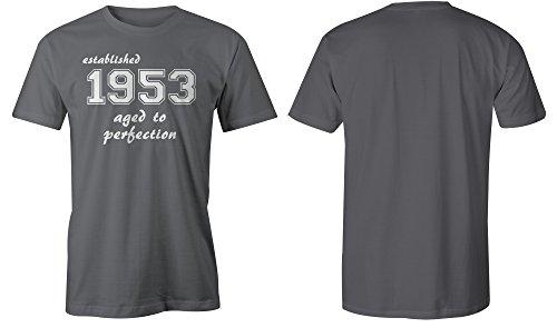 Established 1953 aged to perfection ★ Rundhals-T-Shirt Männer-Herren ★ hochwertig bedruckt mit lustigem Spruch ★ Die perfekte Geschenk-Idee (06) dunkelgrau