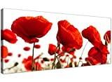 Large Red Canvas Prints of Poppy Flowers - Floral Wall Art - 1056 - Wallfillers by Wallfillers
