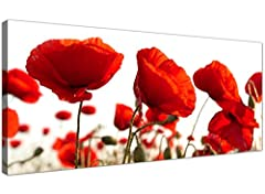 Idea Regalo - Large Red Canvas Prints of Poppy Flowers - Floral Wall Art - 1056 - WallfillersÃ'® by Wallfillers