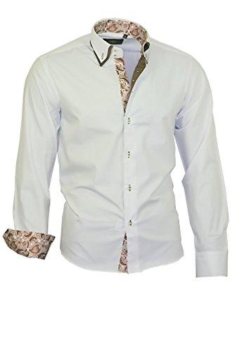 Binder de Luxe Herren Herren Hemd modern fit Langarm Doppelkragen Weiß baun