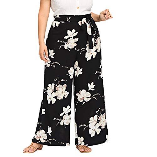 Leg Avenue Boys Shorts (XNBZW Womens Plus Size Casual Wide Leg Hose mit Blumenmuster Bogen Bandage Maxi-Hose(XXXL,Schwarz))