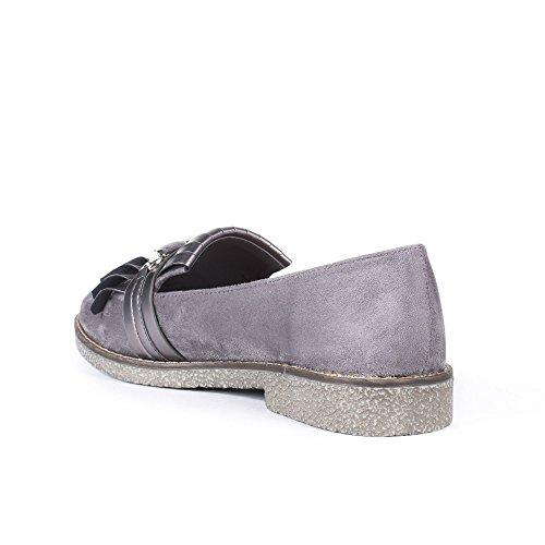 Ideal Shoes Mocassins Effet Daim avec Franges Nacrées Ally Gris