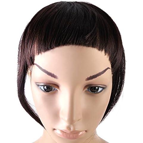 Eastar donne affascinanti ragazze clip Davanti scoppio accurato diritta Falso frangia di estensione dei capelli-Scuro Marrone
