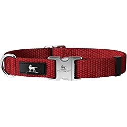 Knuffelwuff Alu Hundehalsband aus Baumwolle Halsband Hund Active Cotton 35-50cm, 2,0cm Dunkelrot