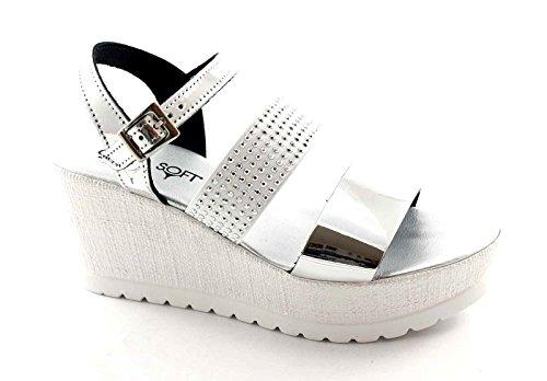 CINZIA SOFT IG9475 argento scarpe donna sandali pelle elastico zeppa strass Argento