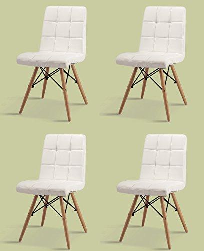 Inspiration 4er Set ESSZIMMERSTUHL Leder PU Weiss + BUCHE LEDERSTUHL Retro Chair