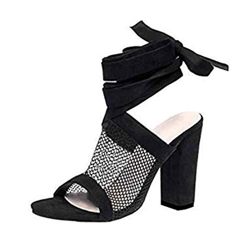 6-zoll-sexy High Heel (Frauen Lace-Up Sandalen High Heels 10cm Sommer sexy dick mit Sandalen Mesh Garn Ferse Knöchel Riemen Schuhe Partei offene Zehensandalen (Schwarz-40))