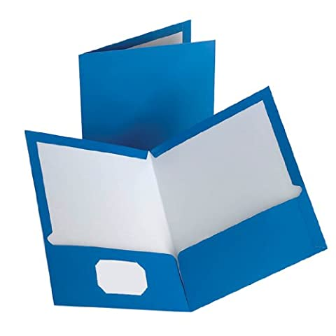 Oxford Laminated Twin-Pocket Folders, Blue, Pack Of 10