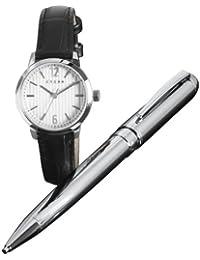 Cross  CR4002 - Reloj de cuarzo para mujer, con correa de cuero, color negro