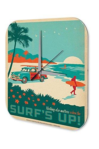 Uhr Palme (Wanduhr Nostalgie Surfer Auto Strand Palme Acryl Deko Vintage Retro)