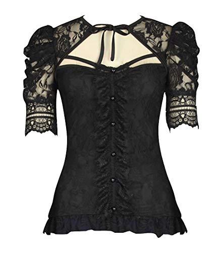 Gothic Rockabilly Damen Blusenbody Bluse Gr. 48, schwarz - Victorian Gothic Black Lace