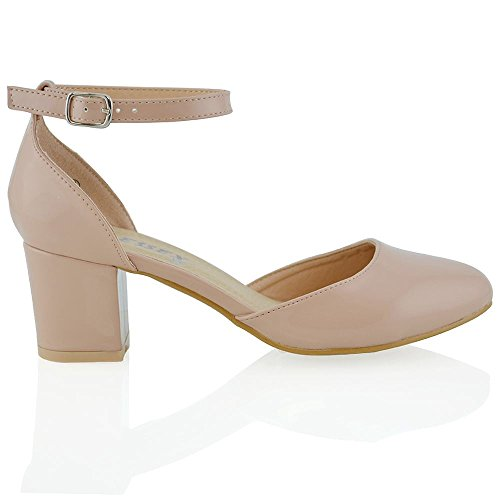 ESSEX GLAM Niedrige absatz mit schnallen Knöchelriemen Schnalle Elegant Pumps Sandalen Hautfarbe Kunst Lackleder