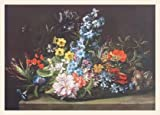 Jan van den Hecke Blumenkorb Poster Bild Kunstdruck Lichtdruck im Holz Rahmen in Ahorn weiss lasiert 45,2x58,9cm